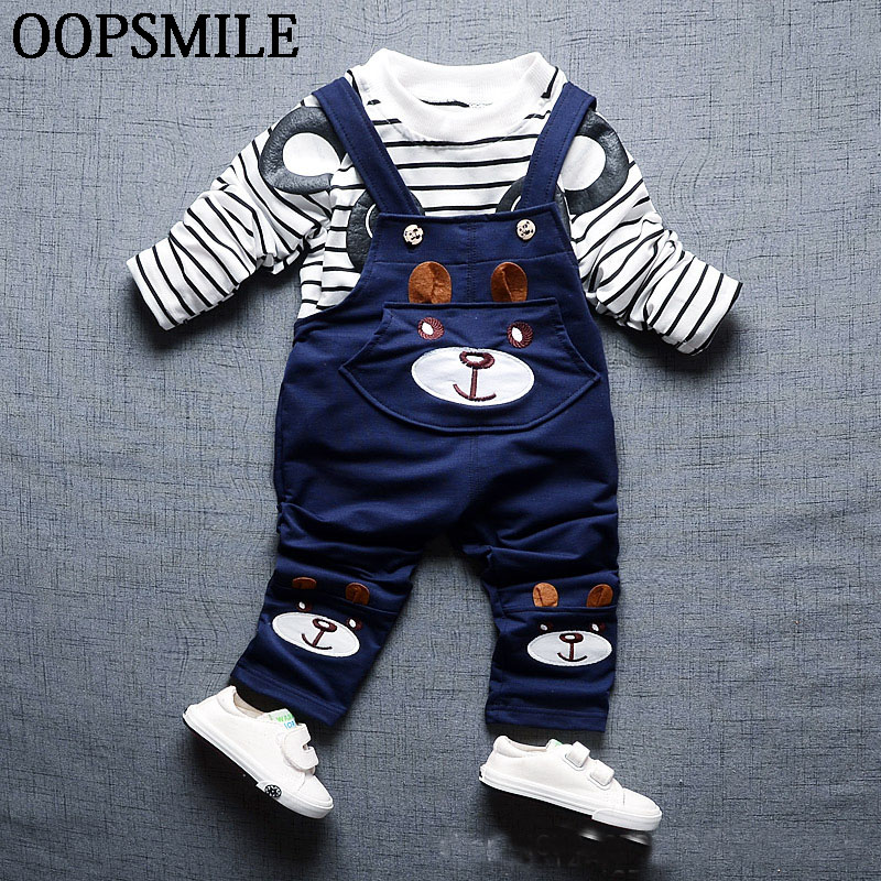 New Baby Boys Spring Clothes Baby Set Cartoon Printed Bear Stripe Shirt +Trousers Cotton Newborn Clothing baby 1st birthday suit