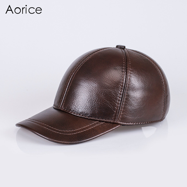 de05983981f Aorice 2017 Autumn Winter Genuine Leather Baseball Cap Hat Brand New Men s  Real Skin Leather Hats