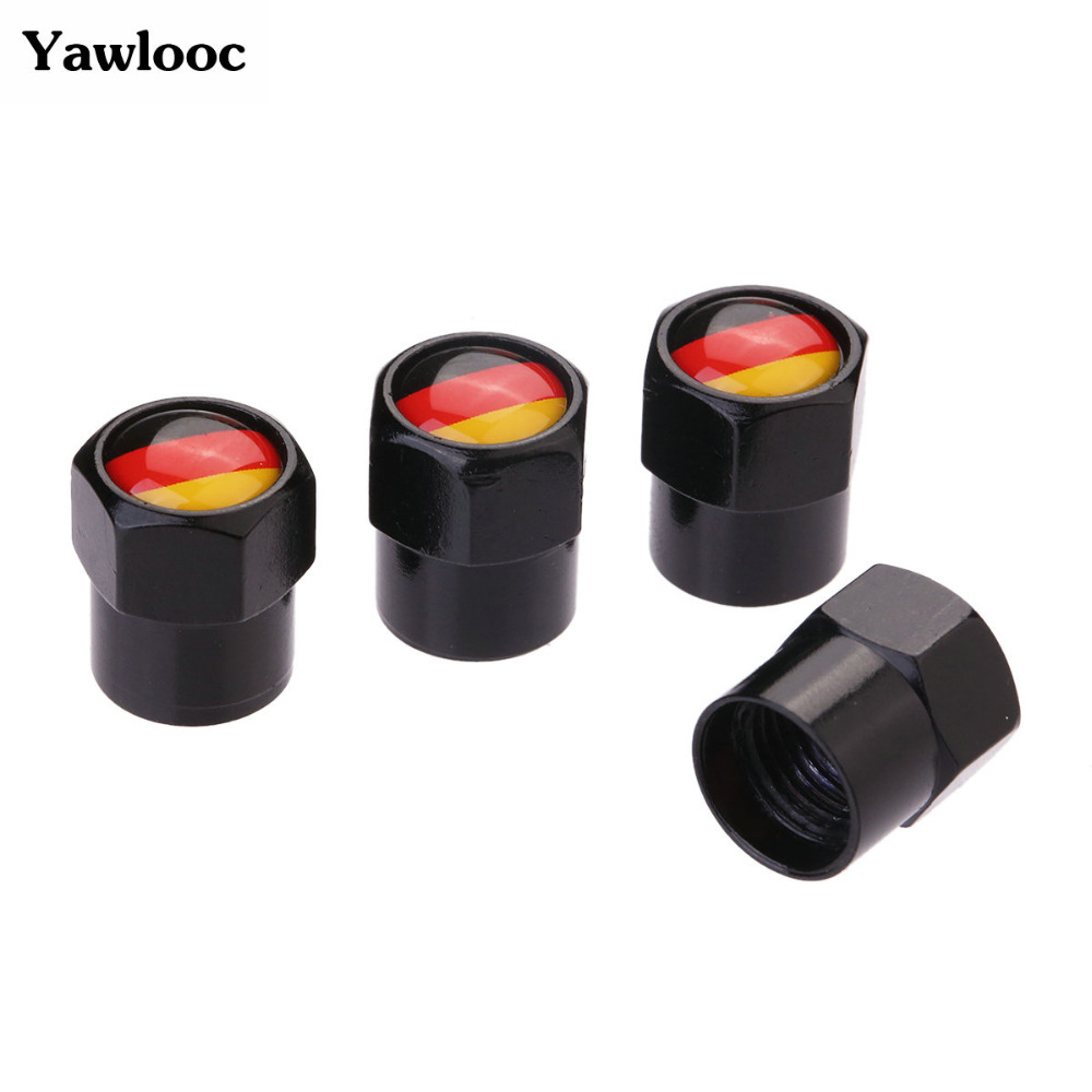 4 Pcs/Lot Flag Germany Car Sport Wheel Tire Valve Stem Air Caps Styling Stainless Steel For Car Styling Car Accessories