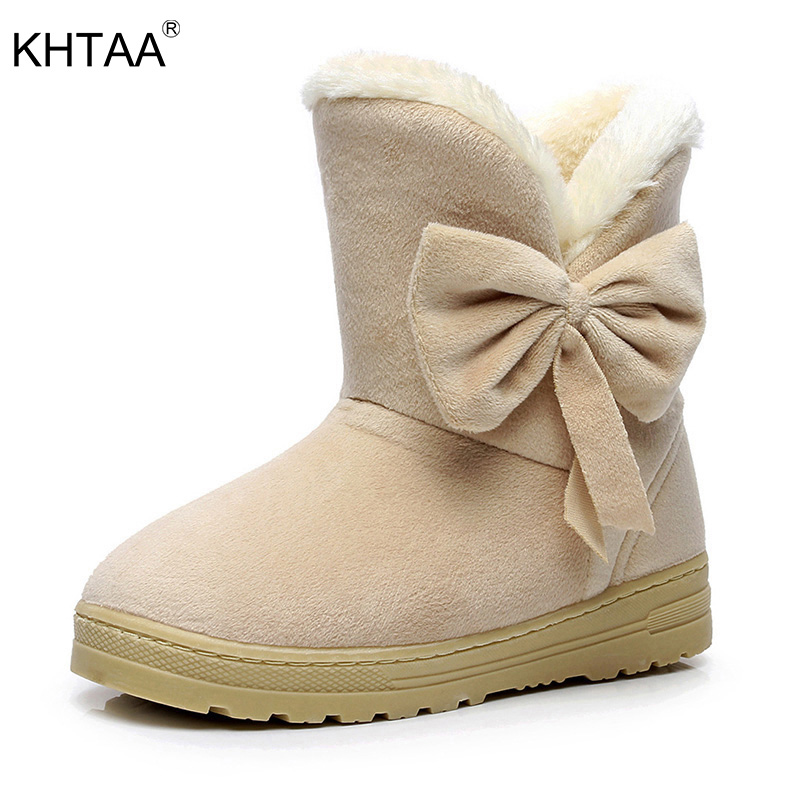 KHTAA Female Warmer Plush Bowtie Fur Suede Rubber Flat Slip On Winter Ankle Snow Boots Women's Fashion Platform Black Shoes fashion women ankle boots suede tassels snow boots female warm plush bowtie fur rubber flat silp on platform black shoes casual