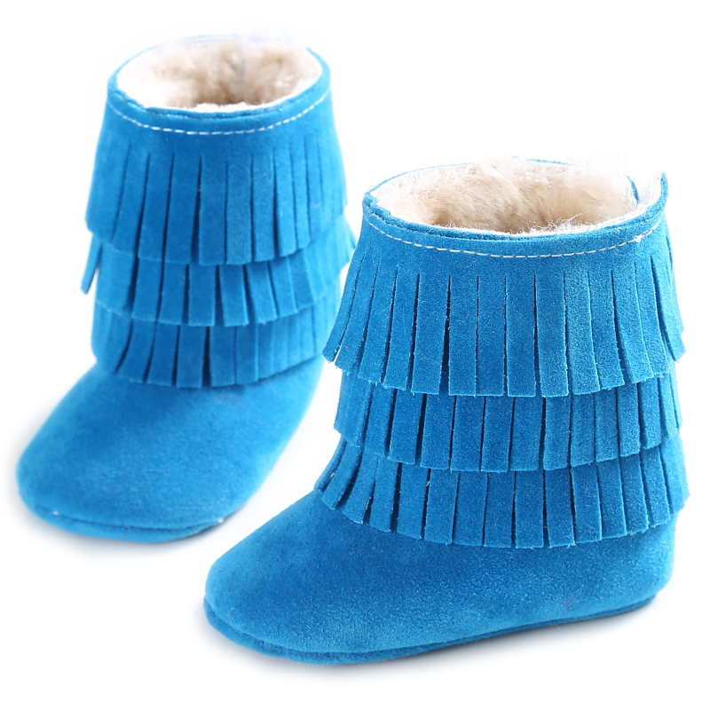 Winter warm Plus velvet thicken lace-up Pu leather Baby boy girl Moccasins shoes infant suede boots first walkers Newborn shoes