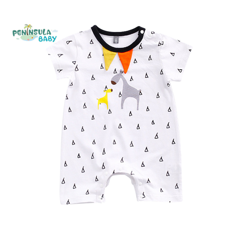 2017 Summer Style Baby Rompers Baby Girls Clothes Cotton Cute Little Deer Printing Newborn Jumpsuits Infant Kids Boy Clothing newborn baby girls rompers cotton padded thick winter clothing set cartoon bear infant climb hooded clothes babies boy jumpsuits