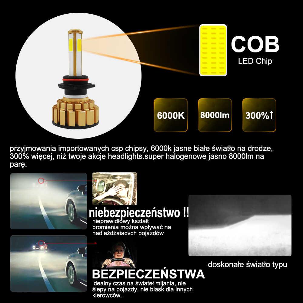 roadsun Headlight LED Bulb H4 HB2 H11 H8 H9 9005 9006 HB4 4 Sides H7 LED Lamp for Auto 6000K 80W 8000LM COB Car Light Automotivo