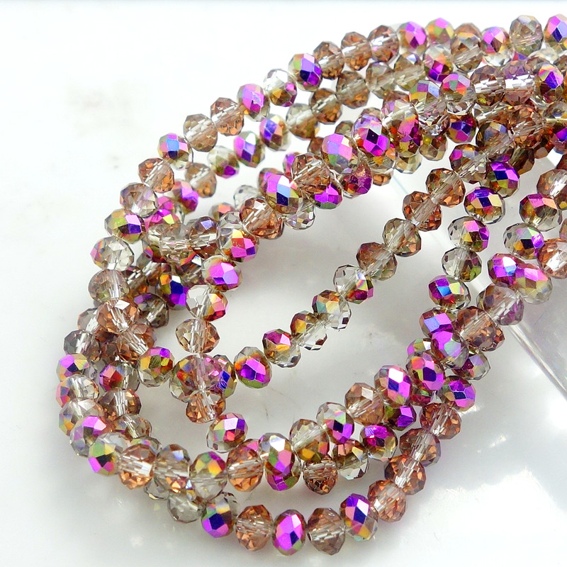 Նորաձևության գույներ Rondelle Faceted Crystal Glass Loose Spacer Beads 3mm4mm6mm8mm