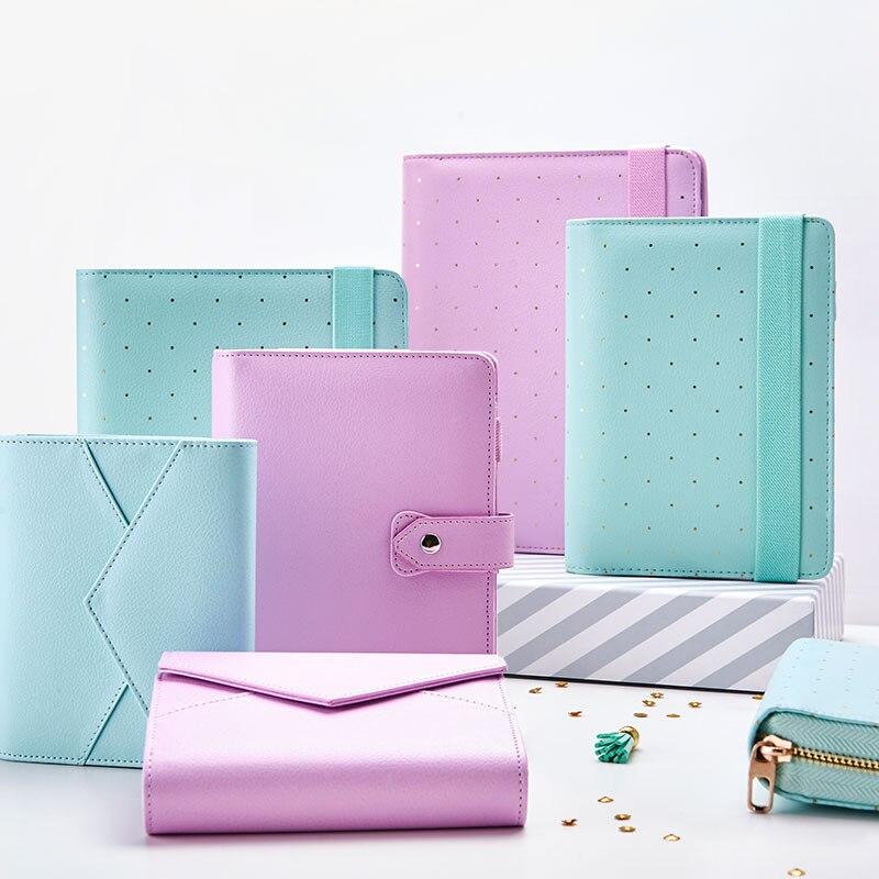Nouveau Dokibook Portable Menthe A5 A6 Spirale Temps Planificateur Mignon Creative Zipper Case Livre Journal Ordre Du Jour Organisateur
