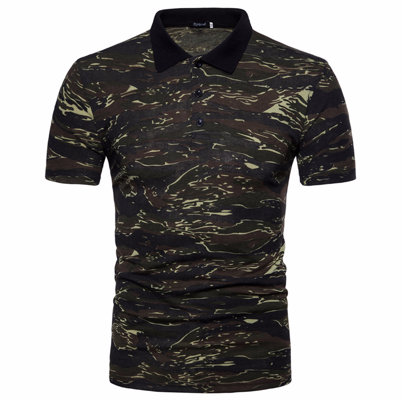 Men's Top Regular Gradient Print Breathable Cotton Short Sleeve 2018 Spring And Summer New Casual Camouflage Polo Shirt 32