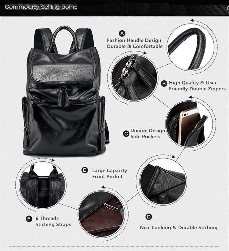 YUPINXUAN Europe Mens Waterproof Casual Daypacks Large PU Leather Laptop Backpacks Leather School Bags Youth Mochila Estudiante