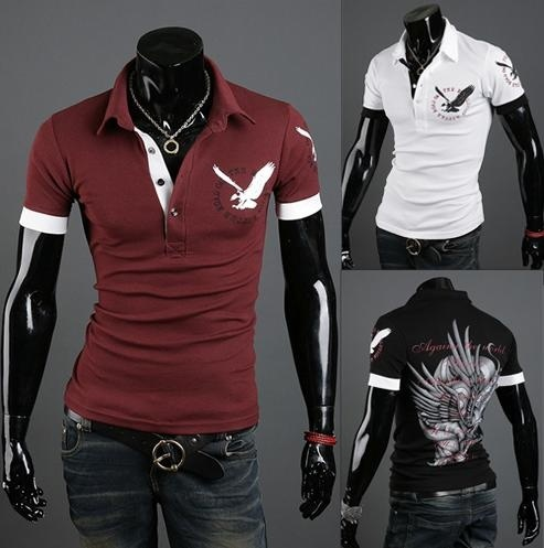 ZOGAA 2019 New Men's Short Sleeve   Polo   Shirt Solid Color Casual   Polo   Shirt Eagle Print Slim Lapel Long Sleeve   Polo   Shirt