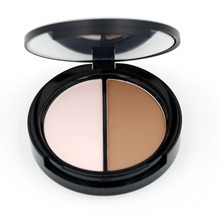 Makeup Face Highlighter & Bronzer Press Powder 1 pcs Two-color Highlight and Contour Palette Net 8.4g S-25