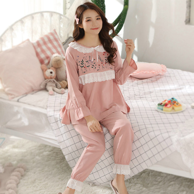 maternity pajamas nursing pajamas nightgown breastfeeding Maternity set pink Lace Embroidery bow women sleepwear 100% cotton