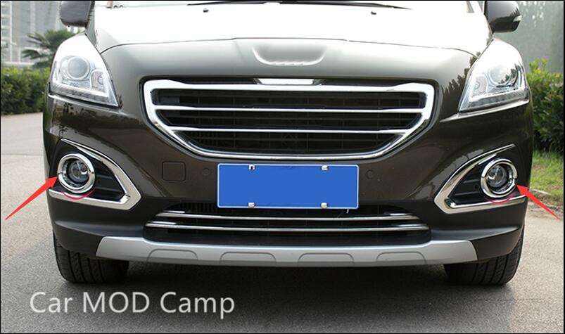 For Peugeot 3008 2013 2014 2015 ABS Chrome Front Fog Light Fog Lamp Cover Trim 2pcs Car Styling accessories! high profile rear fog lamp fog light fog lights chrome cover sticker for chevrolet chevy malibu 2012 2013 2014 2015 accessories