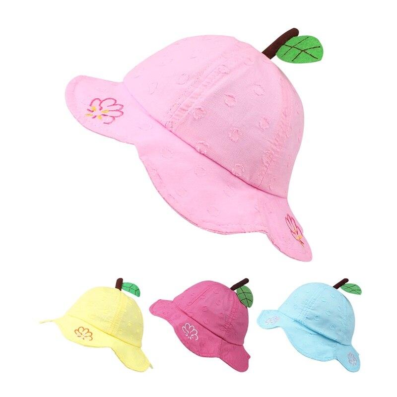 Цветок милый ребенок девушки шляпа летняя Панама Sun Кепки хлопок мягкие детские шляпа оставляет шаблон шляпа для маленьких девочек одежда д...