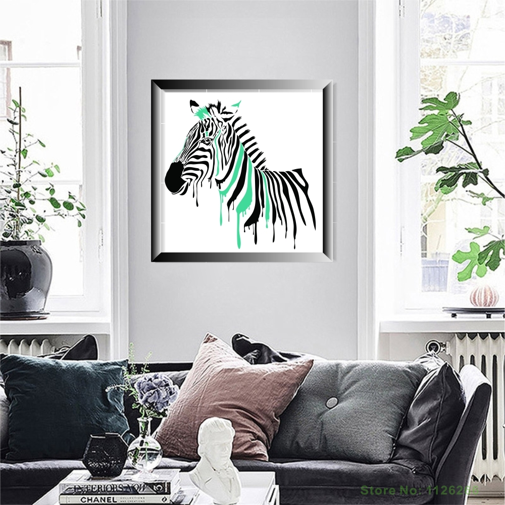 Abstract Zebra Decorative Wall Picture Cute Animal Canvas Painting ...