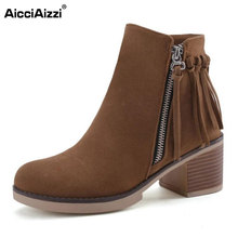 AicciAizzi Size 34-43 Sexy Lady High Heel Boots Tassel Round Toe Thick Heel Boot Solid Color Fashion Warm Female Botas Mujer