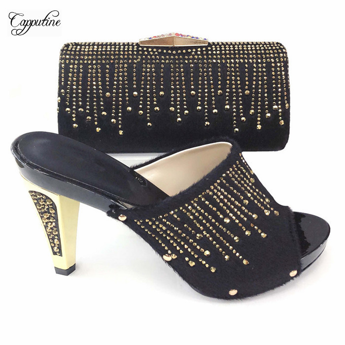 Graceful party sets black high heel sandal shoes and handbag set with stones T2083-3 ,heel height 12cmGraceful party sets black high heel sandal shoes and handbag set with stones T2083-3 ,heel height 12cm
