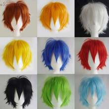 "S-noilite 12"" Short Layer Cosplay Wigs Men Boys Party Wig Synthetic Wig Fake Hair Extension White Purple Red Green Blue Pink Wig(China)"