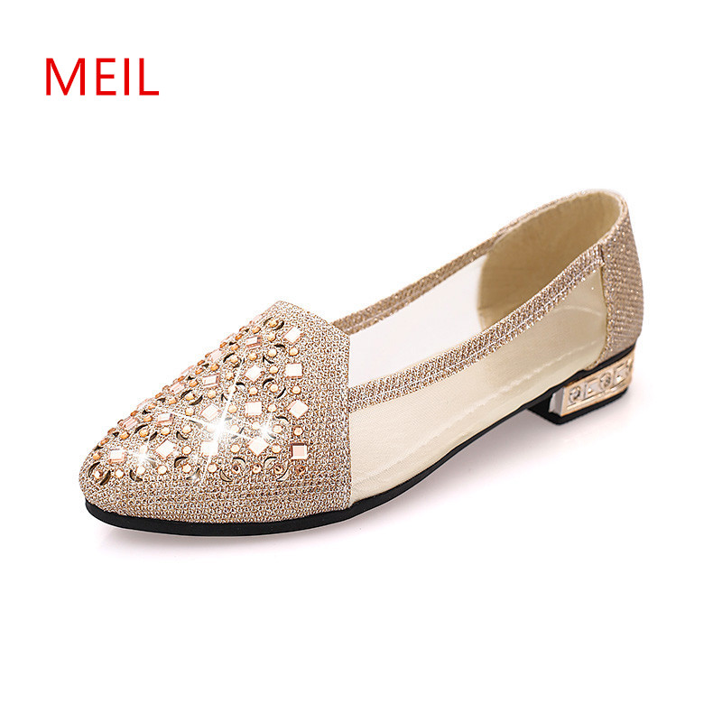 2018 Spring Summer Women Sexy Rhinestone Lolita Nude Shoes Fashion Female Pointed Toe Low Heel Shoes Ladise Office Silver Shoes