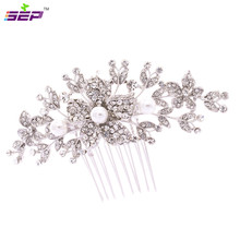 Clear Hairpins Rhinestone Crystal Imitation Pearls Hair Comb for Women Wedding Hair Jewelry Accessories FA2942