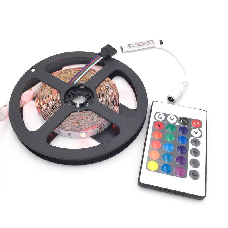 5050 30 светодиодов 12 В 5 м-Водонепроницаемый RGB полосы света + 24 ключевых ИК-Управление Лер + мини RGB Управление коробка
