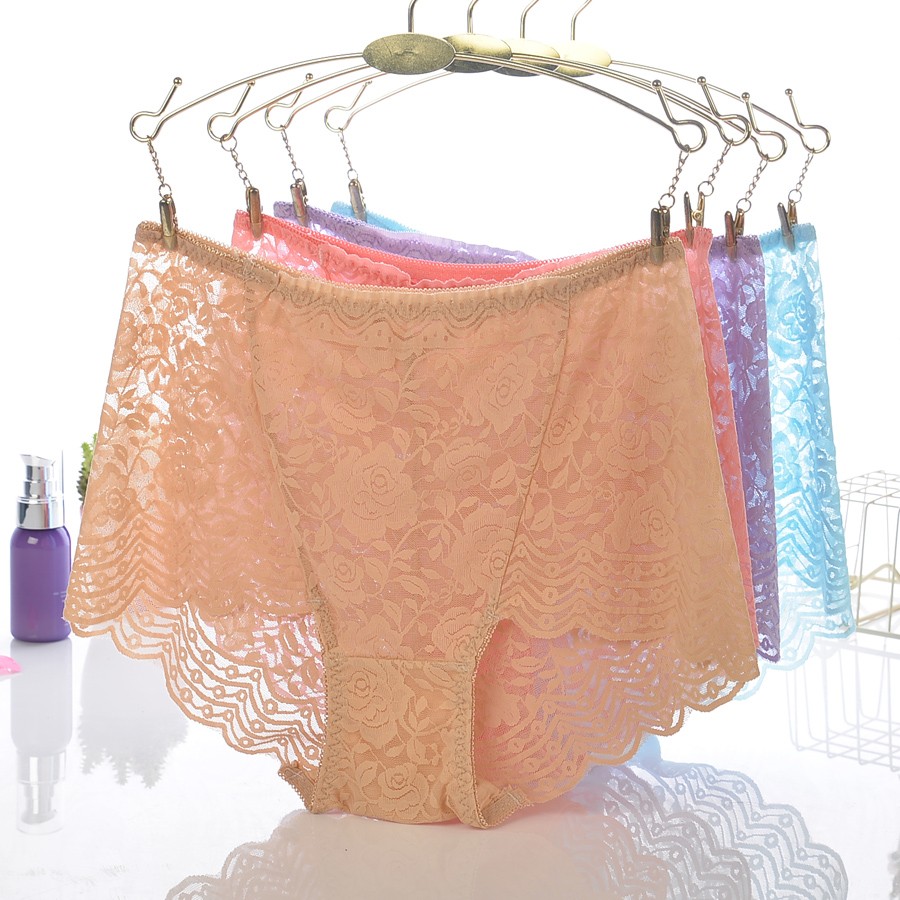 18 Colors Women Sexy Lace High Waist Transparent Underwears Boyshorts Lady   Panties   Briefs Lingerie Intimates Knickers