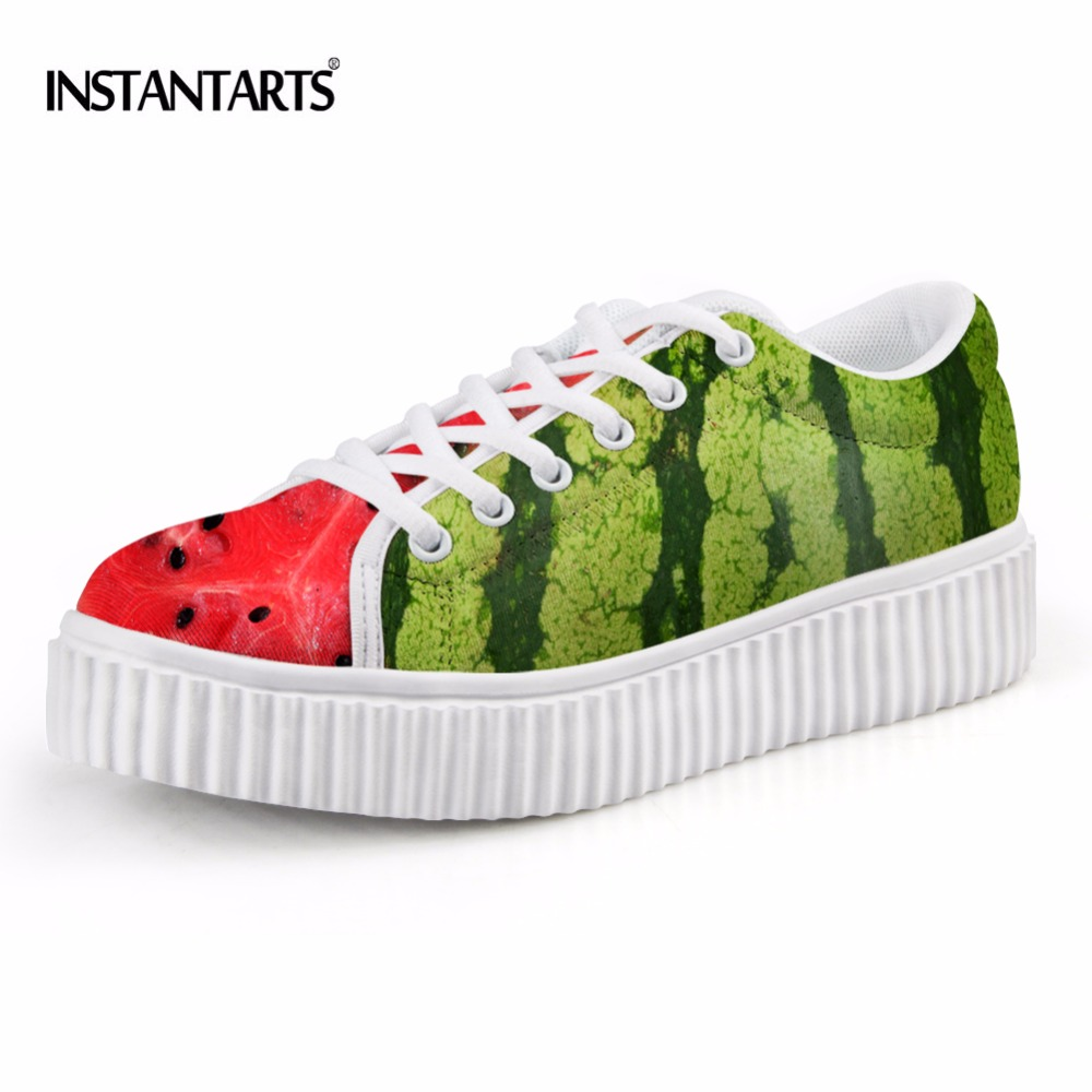 INSTANTARTS Women Casual Flats Platform Shoes 3D Fruit Prints Women's Lace-up Creepers Shoes Leisure Low Style Shoes for Teens instantarts women flats emoji face smile pattern summer air mesh beach flat shoes for youth girls mujer casual light sneakers