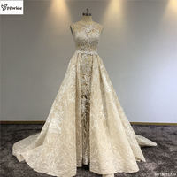 Surmount Champagne Lace Beading Wedding Gown Detachable Train Luxury Bling Bling A line Vintage Royal Train Wedding Dress