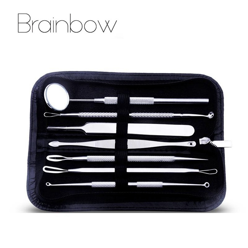 Brainbow 7pcs/set Stainless Steel Acne Needle with Probes Mirror Blackhead Pimple Blemish Comedone Acne Extractor Remover Tools