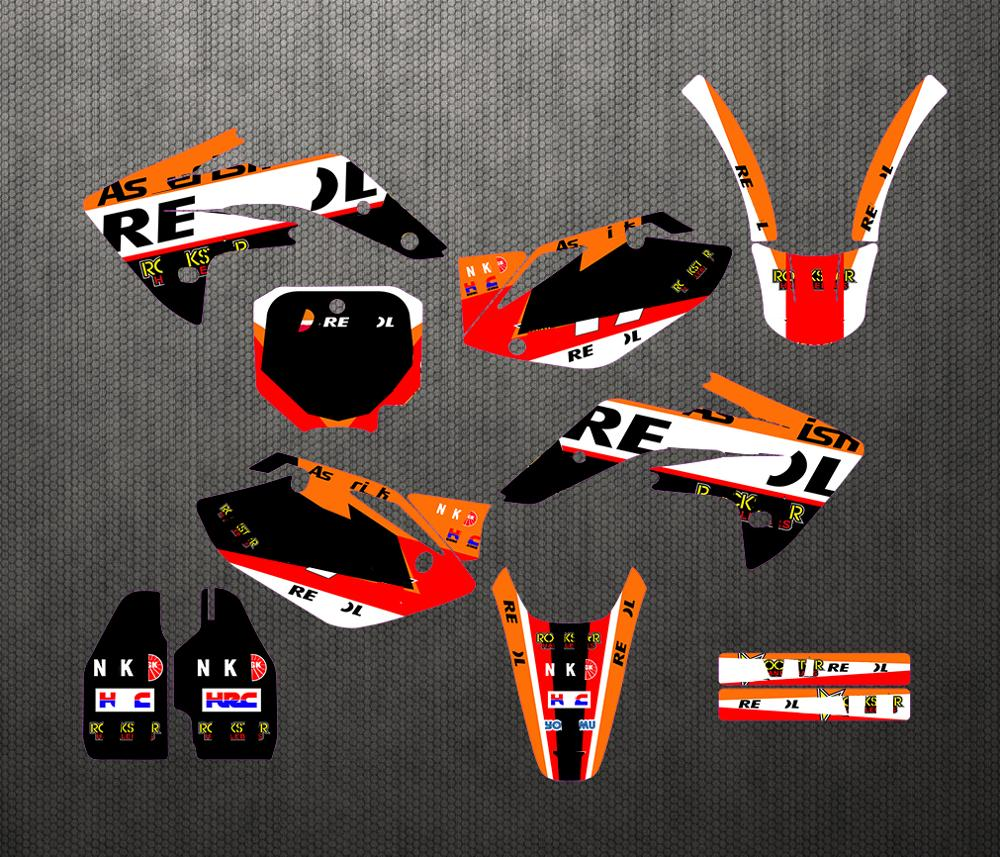 Team Full set <font><b>Sticker</b></font> <font><b>Kit</b></font> Customized Number Graphics Backgrounds Decals For <font><b>Honda</b></font> CRF150R CRF <font><b>150</b></font> R CRF150 2007-2013 2008 2009 image