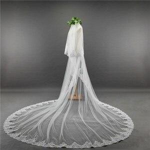Image 2 - כלה צעיף ארוך 3.5M שתי שכבה תחרה קצה רעלה עם מסרק עבור הטולה Mariage חתונה אביזרים