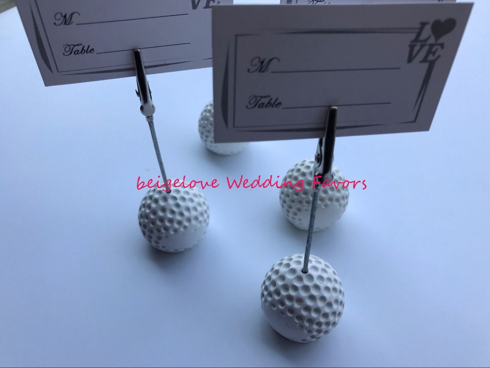 FREE SHIPPING(18pcs/Lot)+Sports Collection White Golf Ball Place Card Holder Wedding Table Centerpiece Unique Party Decorations