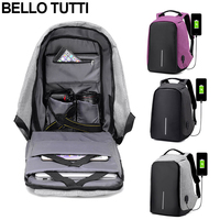 BELLO TUTTI Canvas Men Backpack Anti Theft With USB Charging Laptop Business Bag Unisex Knapsack Shoulder
