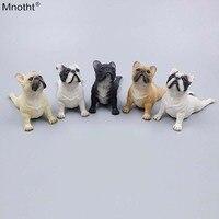 Mnotht 1/6 Французский бульдог лицо вверх поза лежа моделирование модель собака смолы сцены Аксессуар игрушка для фигурку коллекция