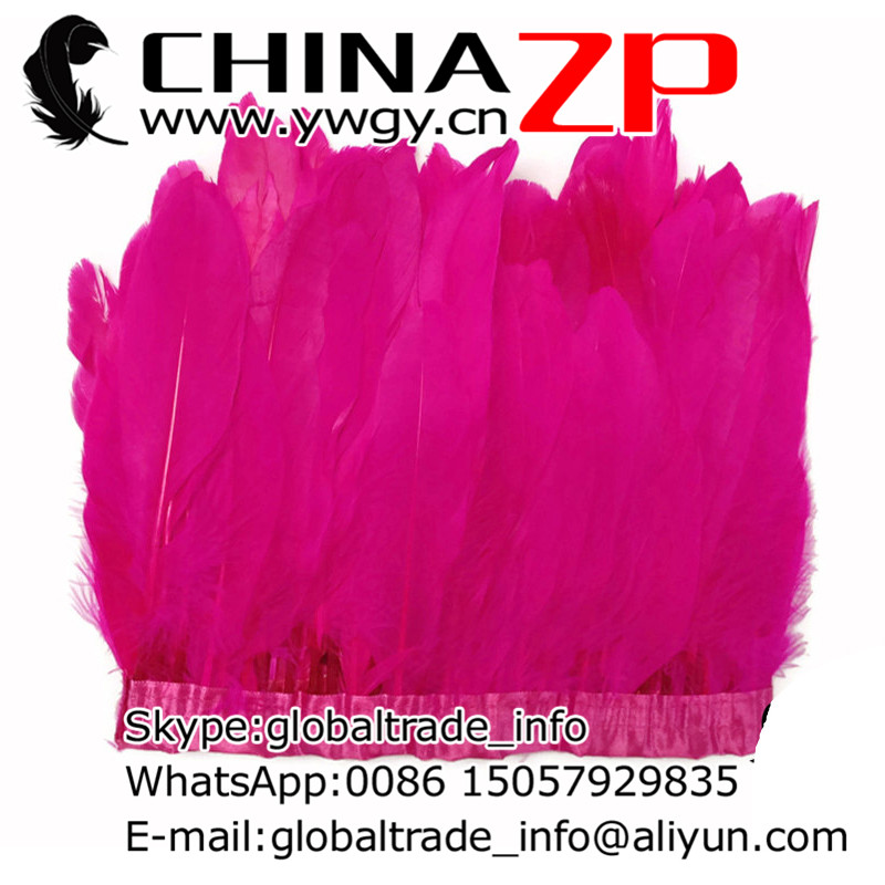 Gold Manufacturer CHINAZP Factory Wholesale 10yards/lot Best Quality Dyed Hot Pink Goose Feather Trim Fringes