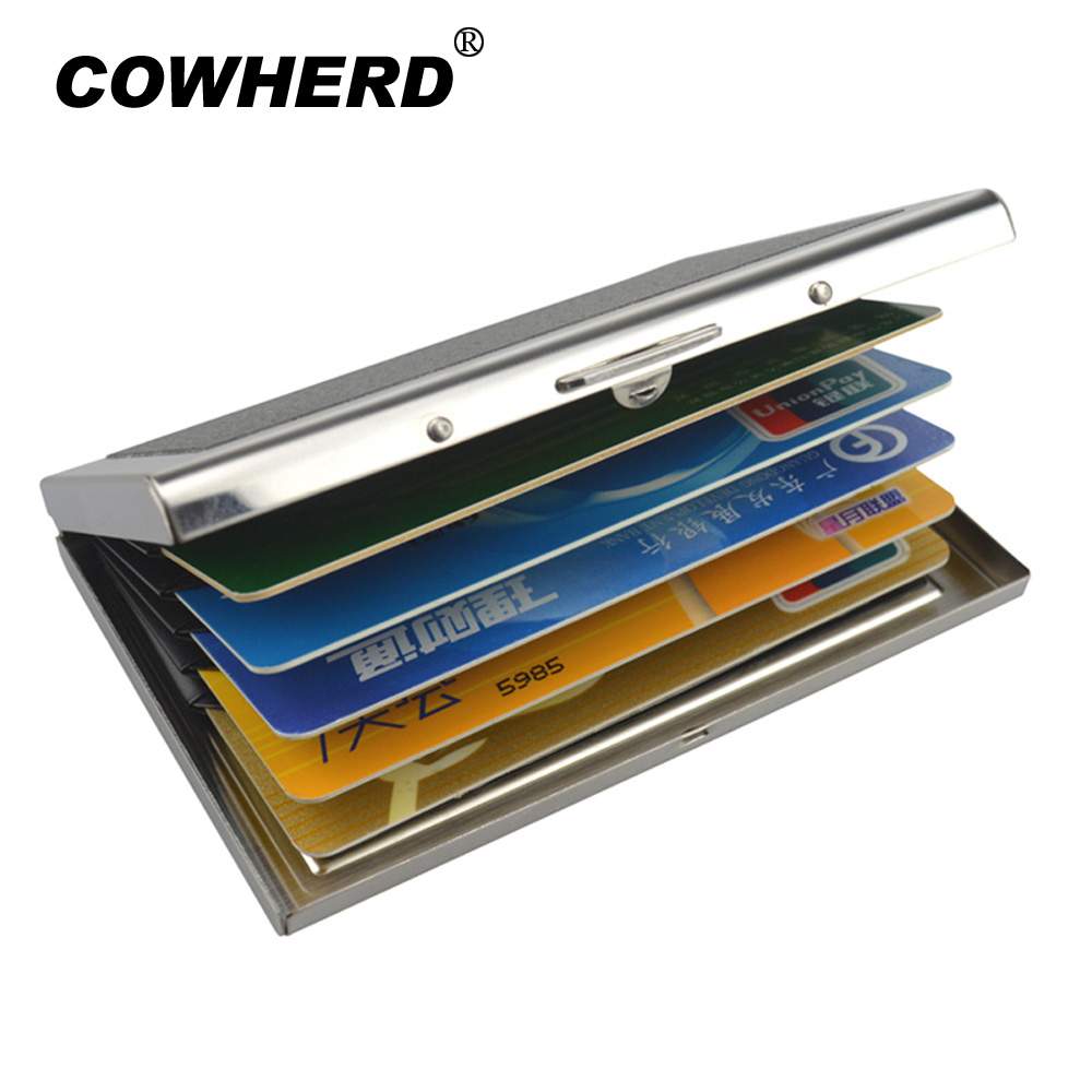 COWHERD High-Grade Stainless Steel Men Credit Card Holder Women Metal Bank Name Business Card Case Card Wallet Box цены