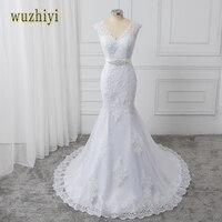 Wuzhiyi robes de noiva Sirène robe de mariée 2017 avec Perles Jupettes Sexy v Neck robes de mariée Blanc Robes De Mariée trouwjurk