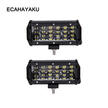 ECAHAYAKU 7 inch LED Bar Rated 72W Actual LED Work Bar Light for Tractor Boat OffRoad 4WD 4x4 Truck SUV ATV Driving 12V fog LAMP цены