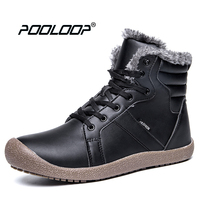 POOLOOP Men Snow Boots Big Size Casual Outdoor Work Shoes Men Warm Plush Inside Ankle Boots