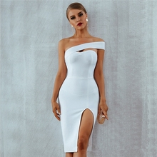 2019 Hot Sale New Explosion Sexy One-shoulder Womens Evening Party Dress Split  Hip Slim Dresses