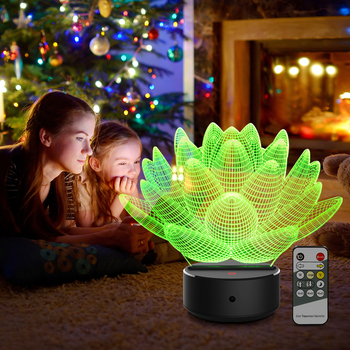 Acrylic 3D Night Light 7 Color Lotus Flower LED Nightlight for Touch Lampen Luminarias Desk Table Sleeping Decoration Kids Gifts