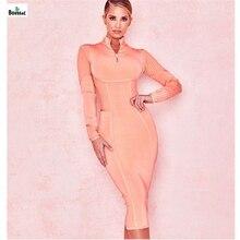 купить Boussac Women Elegant Bandage Dresses 2019 New Pink Zipper Mid Calf Spring Basic Casual Dress платье по цене 2321.81 рублей
