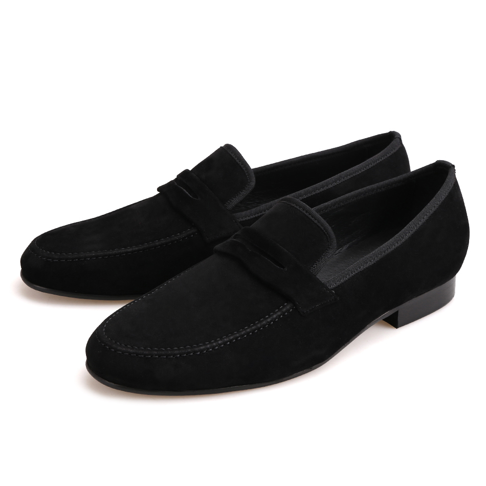 Piergitar 2019 British style Handmade Men Velvet Casual Shoes Men Penny Loafers Party and Banquet Male's Flats Plus Size