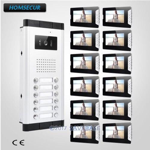HOMSECUR 7 ЖК дисплей Hands free видео безопасный дверной звонок Домофон с видео дверной домофон с 12 шт. мониторы для 12 семей
