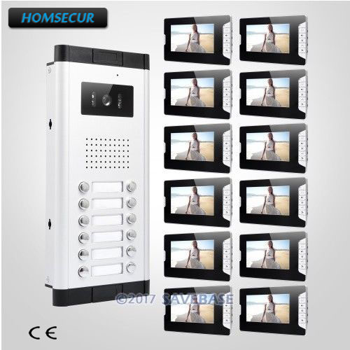 HOMSECUR 7 LCD Hands-free Video Secure Doorbell Intercom with Video Door Intercom System with 12pcs Monitors for 12 Families