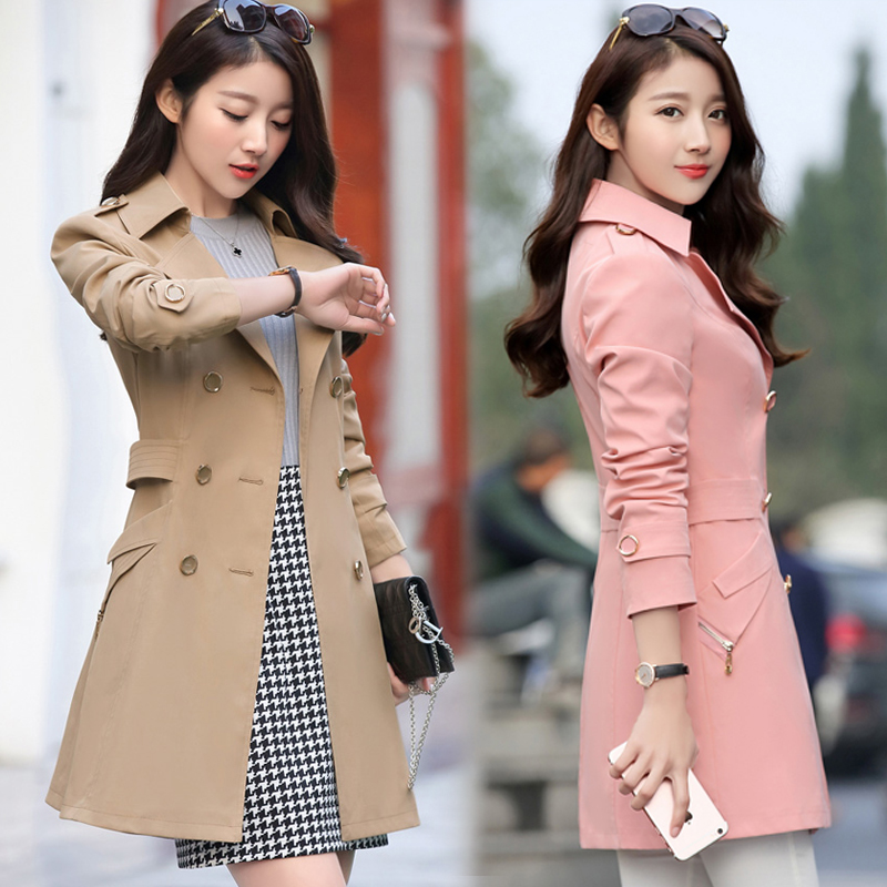 Spring and autumn womens windbreaker in the long section of Korean Slim was thin plus size fashion wild coat