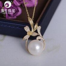 YS 925 Sterling Silver Big Size 13-14mm Elegant Freshwater Pearl Pendant Fine Jewelry