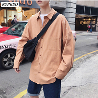2019 New Spring Embroidery Men Shirt Solid Color Long sleeved Turn down Collar Single Breasted Casual Dress Shirt Tuxedo