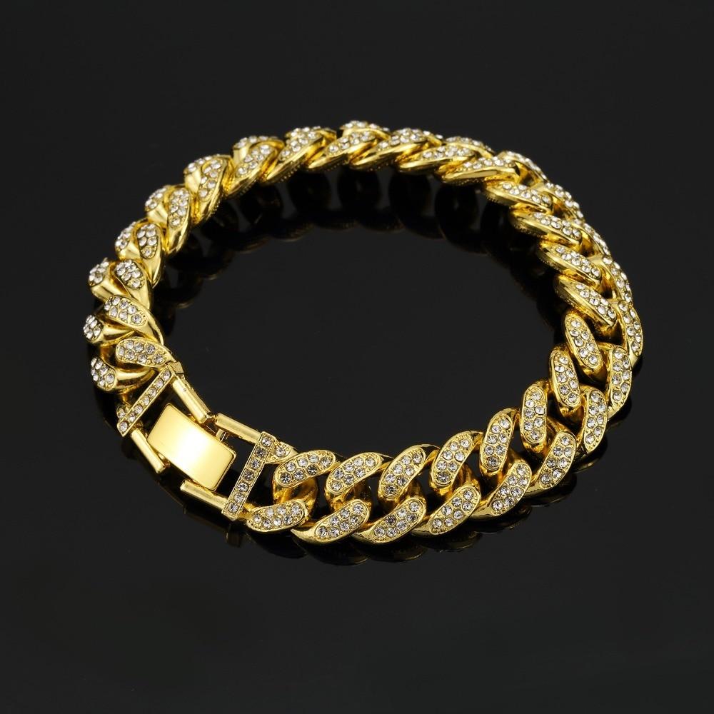2018 New arrived Men Hip Hop Iced Out Bling CZ Bracelet fashion 20cm long Miami Cuban Link bracelets mens Hiphop jewelry gifts