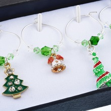 Green Enamel Wine Metal Christmas Series 1Set/6PCs Charms Fit Wine Glass For Decorations Christmas Party For Women