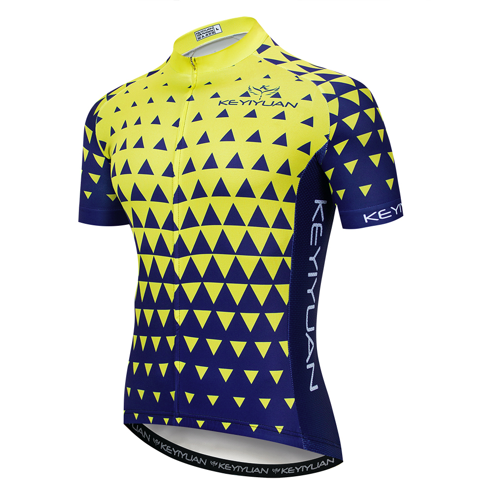 19 Keyiyuan spring and summer new men s yellow and blue triangle pattern wicking quick drying