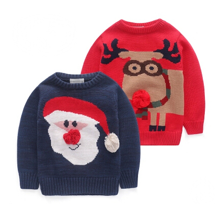 free shipping Children's clothing 2017 winter christmas  Santa Claus and Deercartoon child  baby  boy and girls  sweater